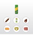 flat icon food set of packet beverage cheddar vector image vector image