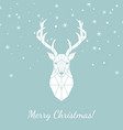 geometric head of a wild deer merry christmas vector image