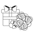 gift box and flowers present black and white vector image vector image