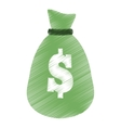 hand draw money bag business finance color vector image