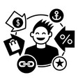 happy client icon simple style vector image