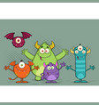 happy funny monsters cartoon characters vector image vector image