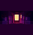 home dark corridor with sunlight from window vector image