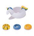 isometric unicorn swimming ring set colorful vector image