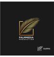 luxury golden palm leaf logo design vector image