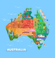 map of australia with landmarks of architecture vector image