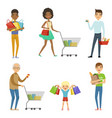 people of different ages make shopping vector image vector image