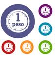 peso icons set vector image vector image