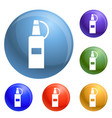 plastic ketchup bottle icons set vector image