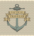 retro travel banner with ship anchor vector image vector image