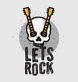 rock design with human skull bones vector image