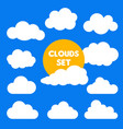 set cartoon clouds and sun isolated on blue vector image vector image