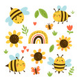 set cute bees and sunflowers vector image