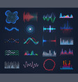 set isolated futuristic music sound equalizer vector image vector image