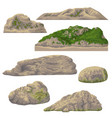 set of rocks isolated on white vector image vector image