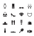 Silhouette woman and female Accessories icons vector image vector image