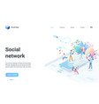 social network isometric landing page tiny people vector image