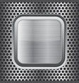 square chrome button on perforated background vector image