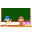 two irag kids in classroom vector image vector image