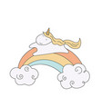 unicorn and a rainbow unicorn and a rainbow vector image vector image