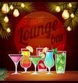 vintage poster lounge club flat cocktail menu vector image