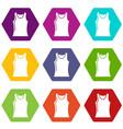 women t shirt icons set 9 vector image vector image