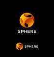 yellow sphere logo abstract ball icon vector image vector image