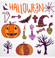 whimsical halloween doodle sketches hand drawn vector image