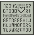 Digital display font alphabet letters and numbers vector image