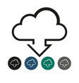 download from cloud outline graphic vector image