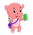 cute hippo go to school vector image