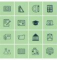 set of 16 education icons includes measurement vector image