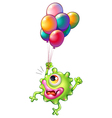 A monster with colourful balloons vector image vector image