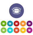 American football icons set color