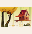 autumn landscape with wood house and yellow tree vector image vector image