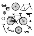 bike parts bicycle equipment and components vector image