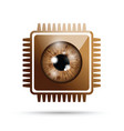 brown realistic eyeball on a microchip vector image vector image