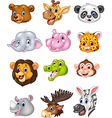 Cartoon wild animal head collection vector image vector image