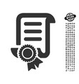 certified scroll document icon with work bonus vector image vector image