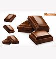 chocolate pieces 3d realistic icon vector image