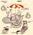 coffee seamless pattern with cafe table coffee vector image vector image