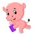 cute hippo holding book vector image
