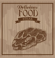 delicious food steak hand drawn poster vintage vector image vector image