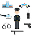 Elements for infographic police car department vector image