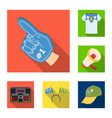fan and attributes flat icons in set collection vector image