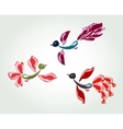 Fanny fairy glass birds and flowers EPS10 vector image vector image