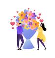 flat loving couple artoon style vector image