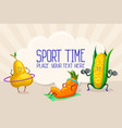 funny vegetable and fruit characters doing sports vector image
