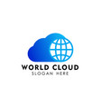globe cloud logo design template cloud tech logo vector image