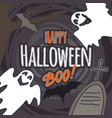 halloween ghost boo concept background hand drawn vector image